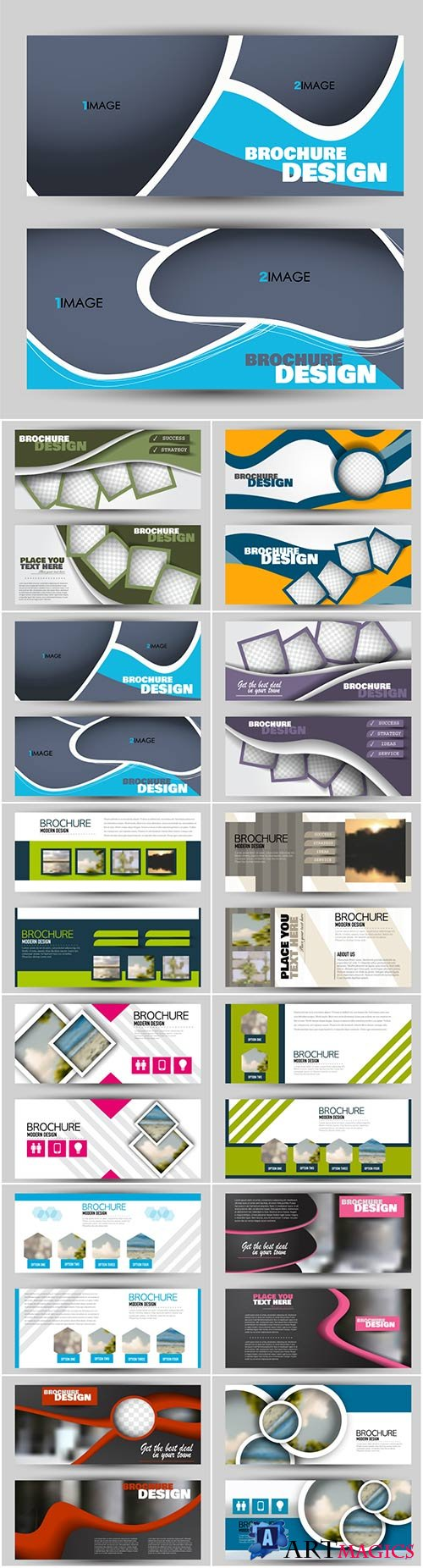 Set of banners for web and advertisement print out, vector horizontal flyer handout design # 5