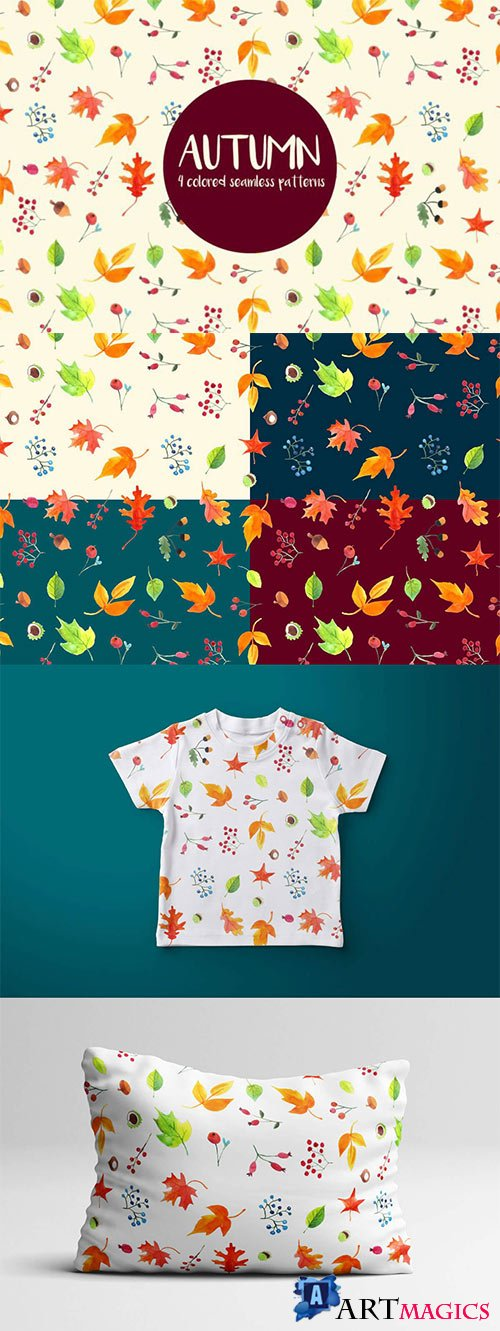 Watercolor Autumn Vector Seamless Pattern