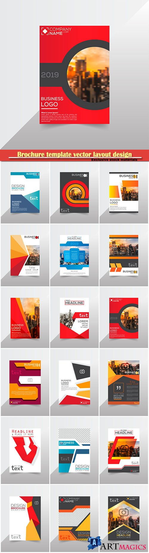 Brochure template vector layout design, corporate business annual report, magazine, flyer mockup # 217