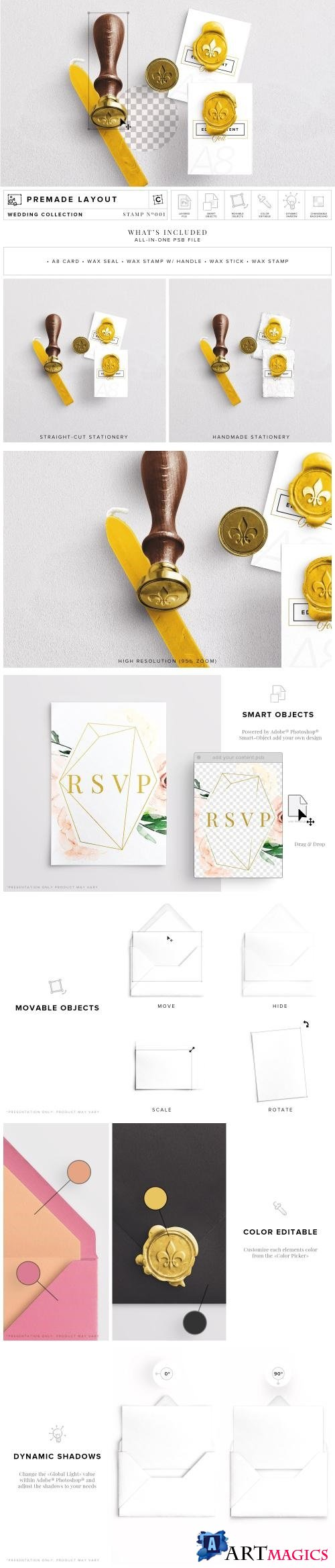 Wax Stamp & A8 Card Mockup - 2763447