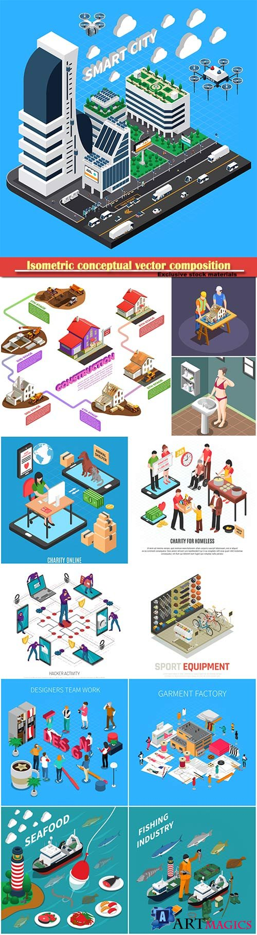 Isometric conceptual vector composition, infographics template # 26