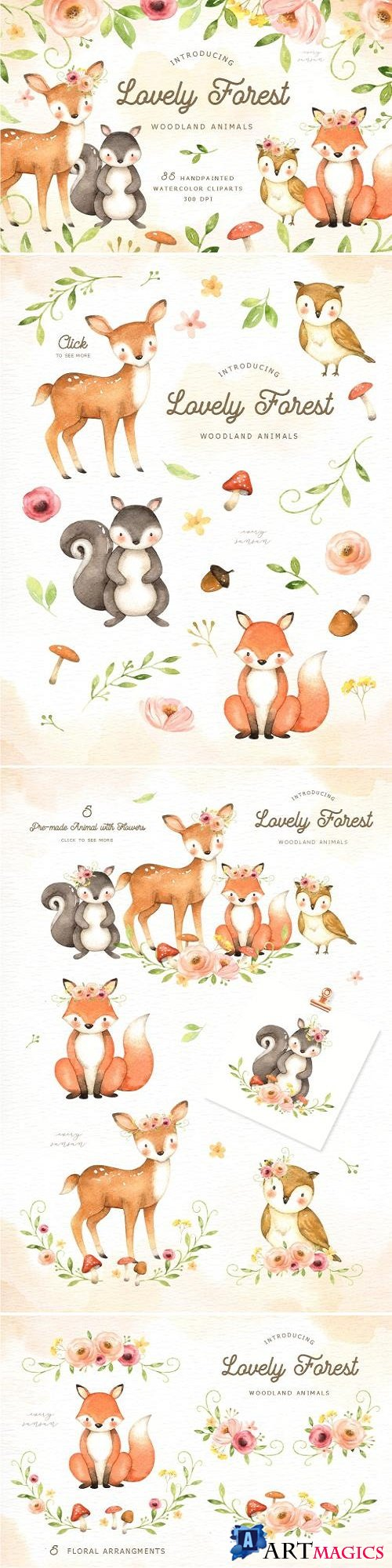 Lovely Forest Watercolor Clip Art - 2893425