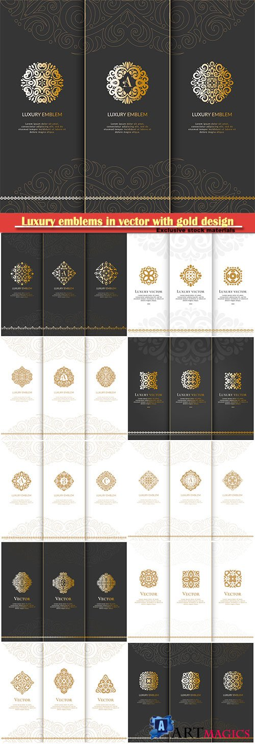 Luxury emblems in vector with gold design