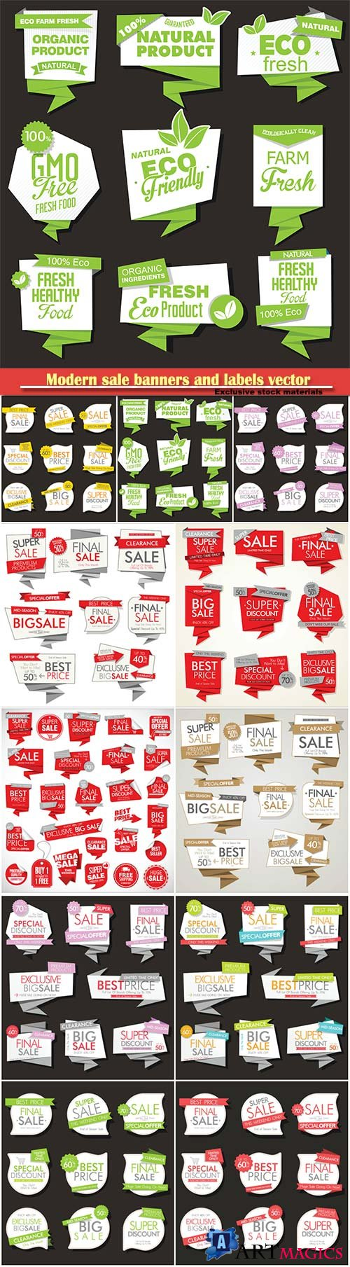 Modern sale banners and labels vector collection