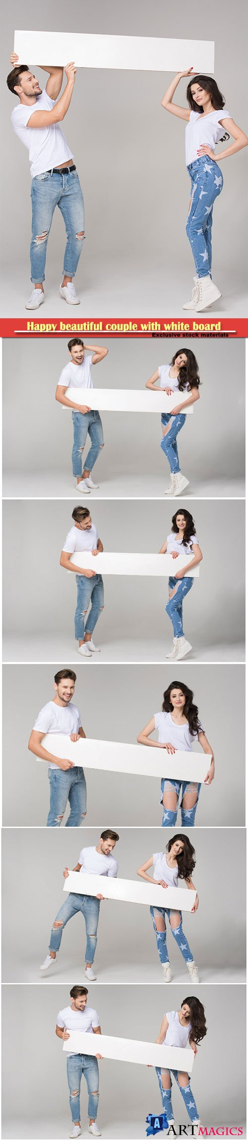 Happy beautiful couple with white board