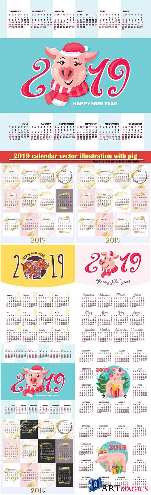 2019 calendar vector illustration with pig