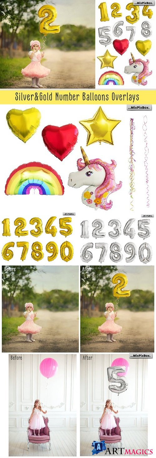 Shaped Number Balloons Overlays - 2570490