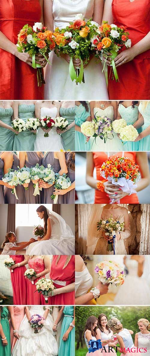 Bride with bridesmaids holding wedding bouquets 29xJPG