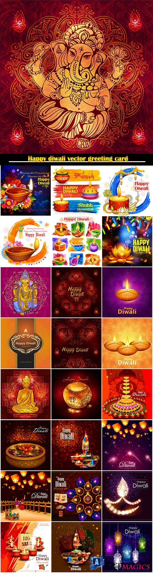 Happy diwali vector greeting card # 2