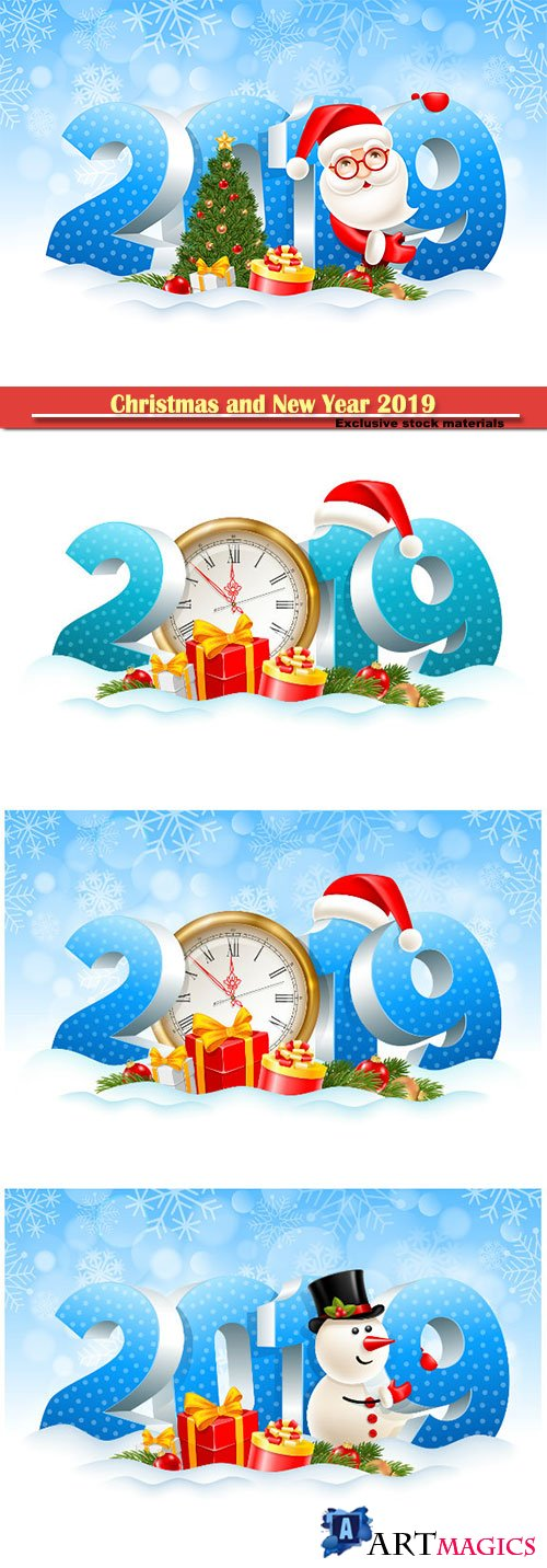 Christmas and New Year 2019 festive design vector illustration, Santa Claus, gifts, spruce branches, christmas toys