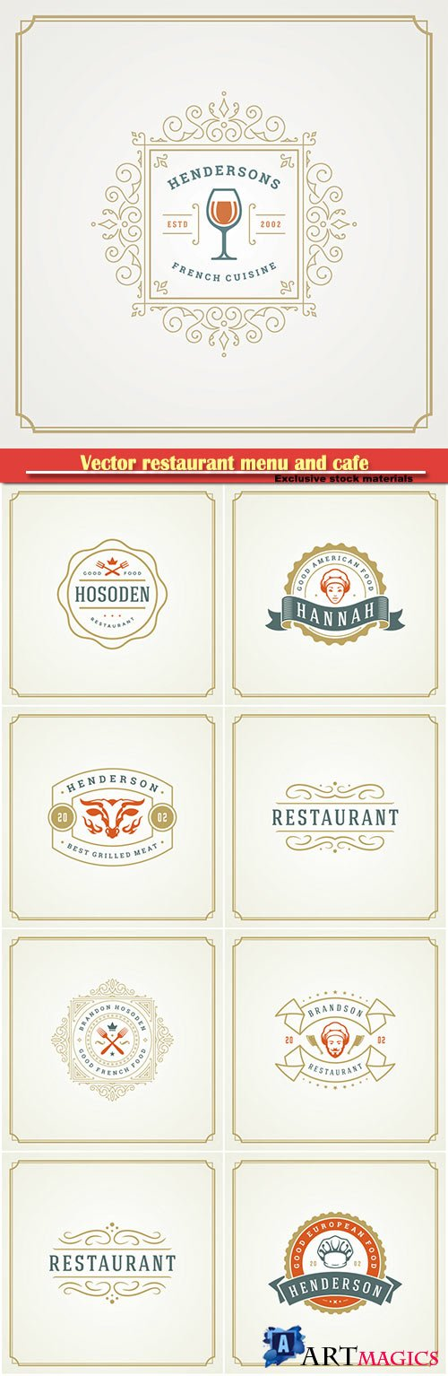 Vector restaurant menu and cafe badge