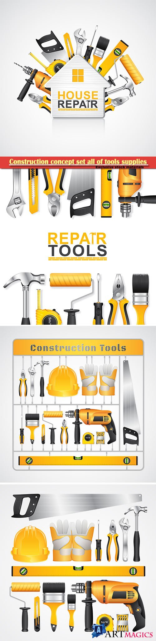 Construction concept set all of tools supplies for house repair builder vector illustration