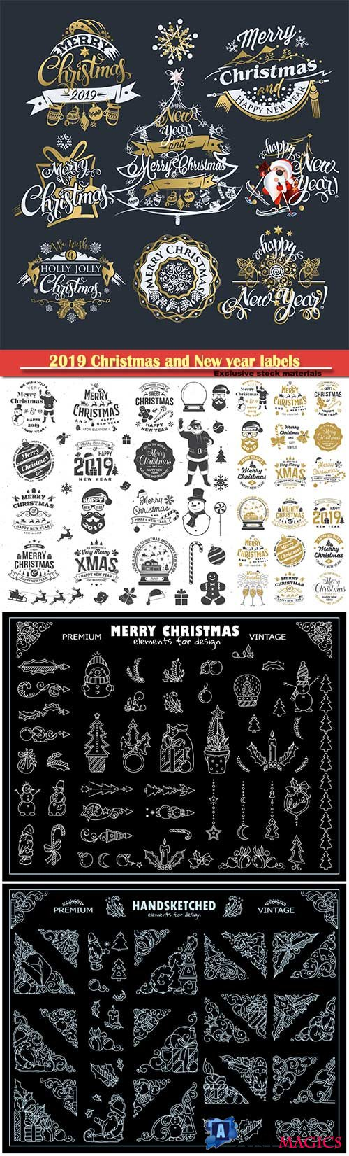2019 Christmas and New year labels and decoration vector borders