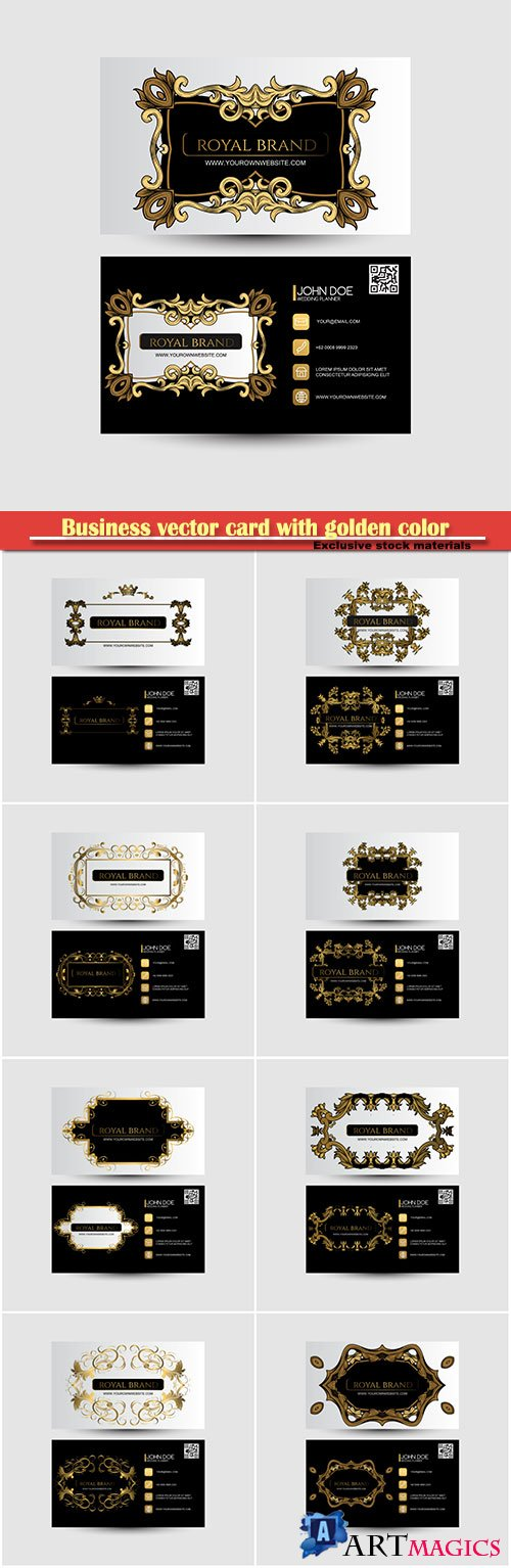 Business vector card with golden color