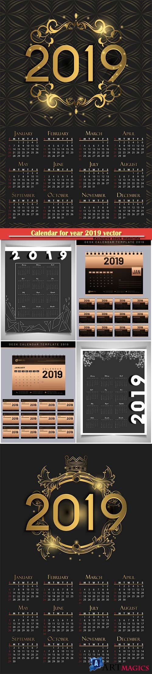 Calendar for year 2019 vector luxury concept with golden color