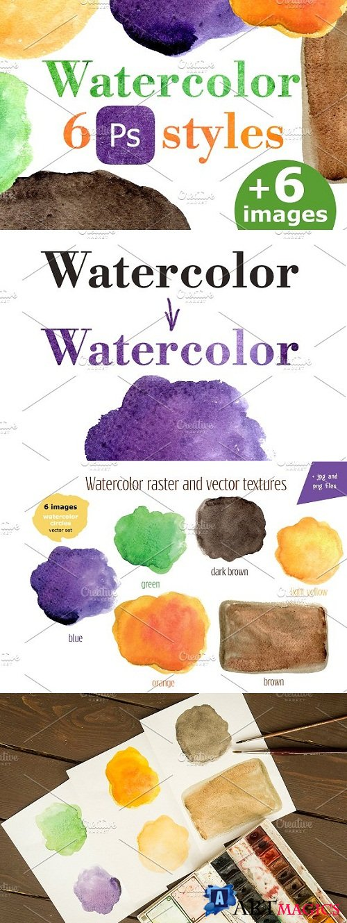 Watercolor PC style for text, object 3210186