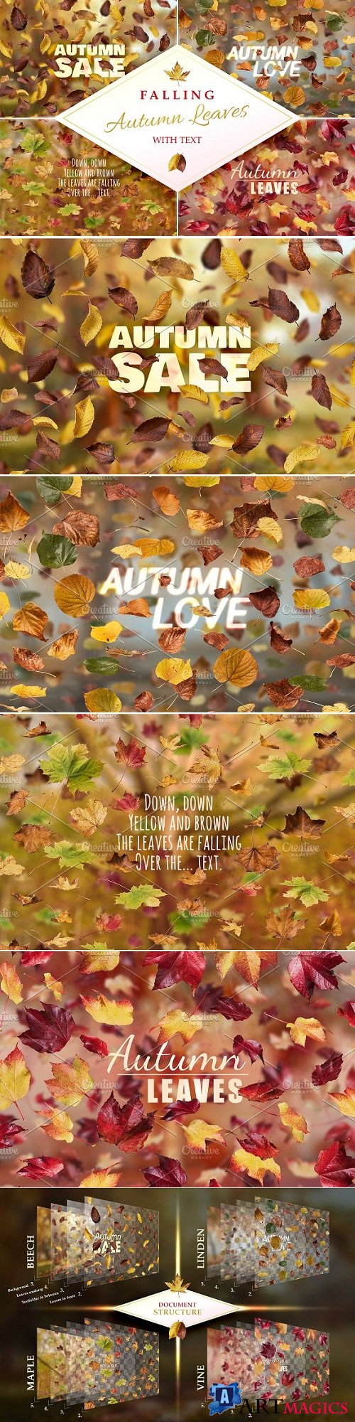 Falling Autumn Leaves with Text 449638