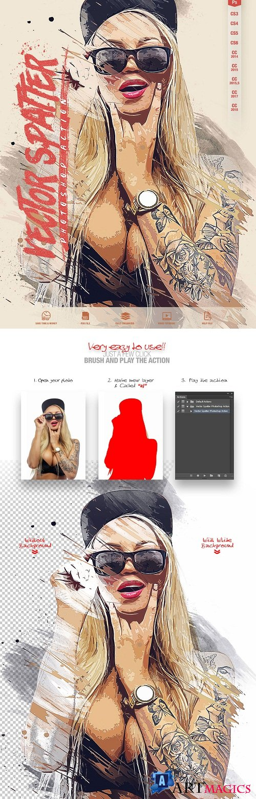 Vector Spatter Photoshop Action CS3+
