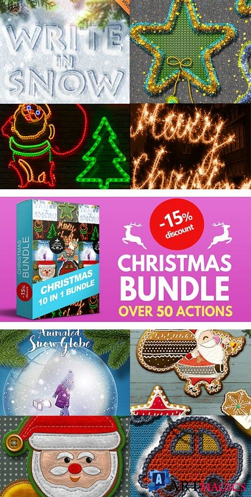 10 in 1 Christmas Photoshop Actions Bundle - 22793168