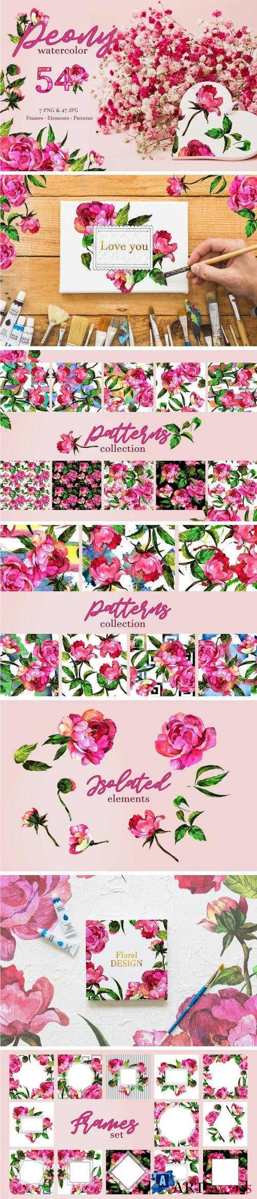 Peony Watercolor png - 3307818