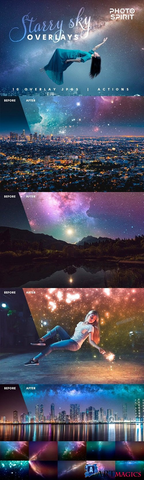 Night Sky Starry Overlays + Actions - 23023016