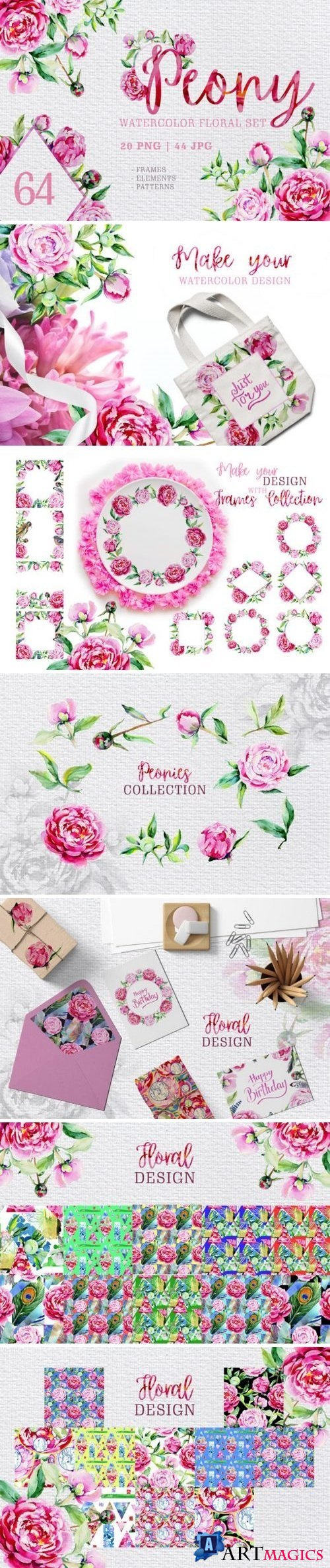 Peony pink watercolor png 3315744