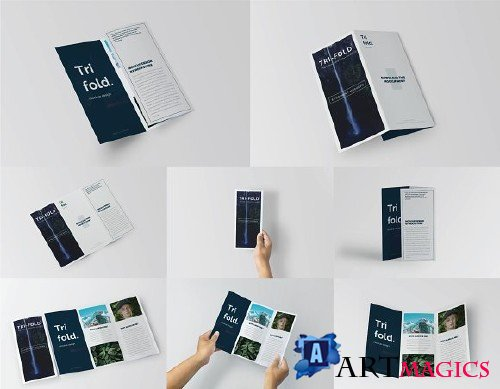 Trifold Brochure Mock-Up Set 2513520