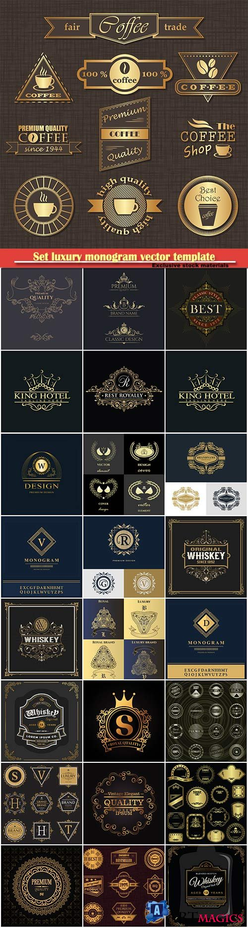 Set luxury monogram vector template, logos, badges, symbols # 7