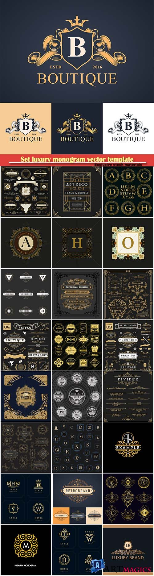 Set luxury monogram vector template, logos, badges, symbols # 11