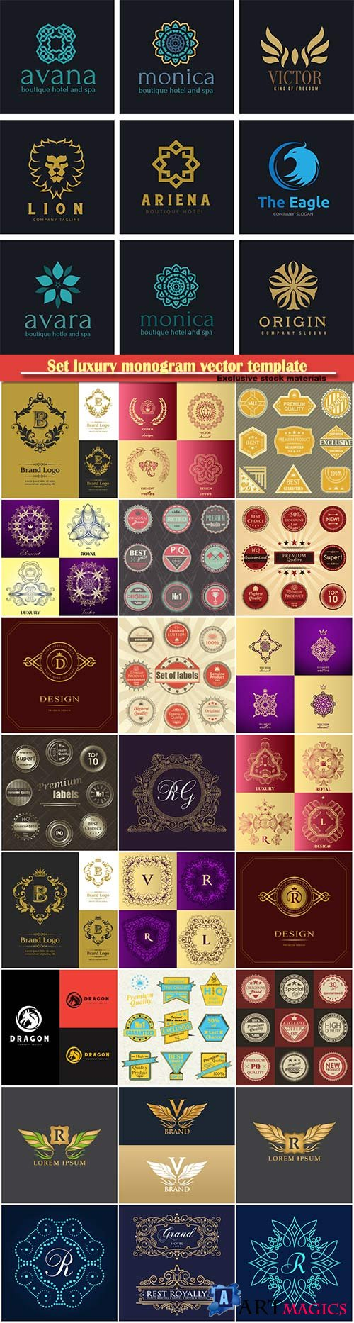 Set luxury monogram vector template, logos, badges, symbols # 6