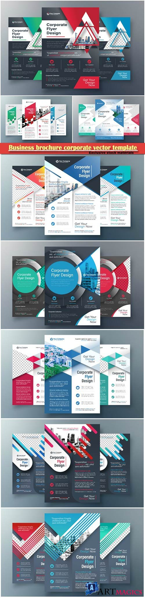 Business brochure corporate vector template, magazine flyer mockup # 7