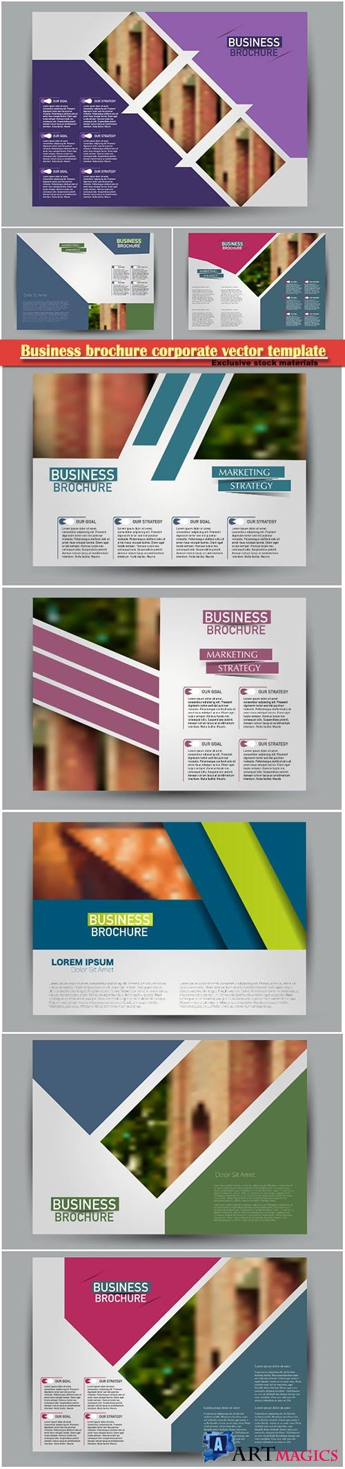 Business brochure corporate vector template, magazine flyer mockup # 3