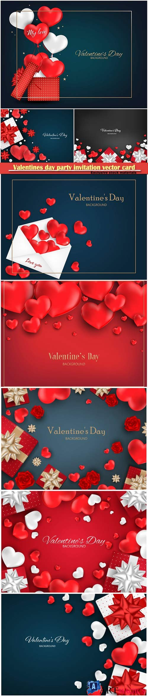 Valentines day party invitation vector card # 38