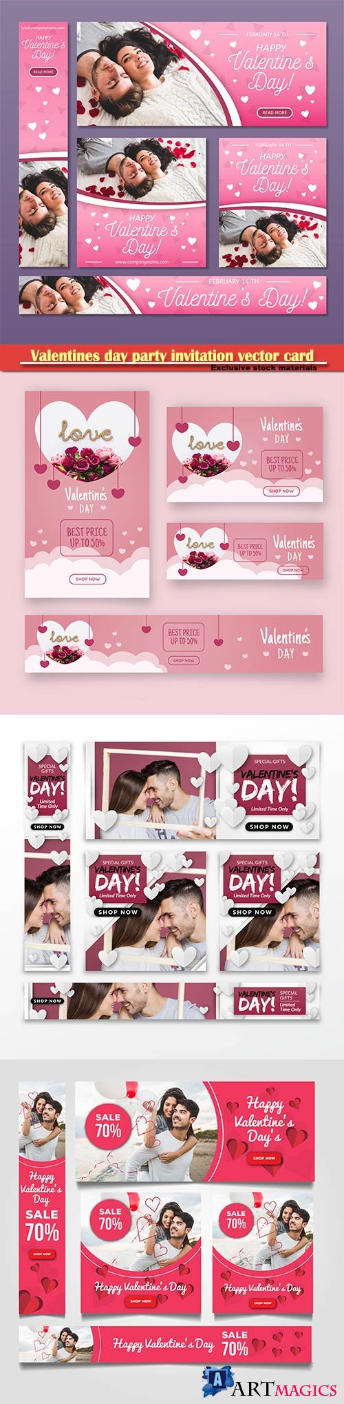 Valentines day party invitation vector card # 49