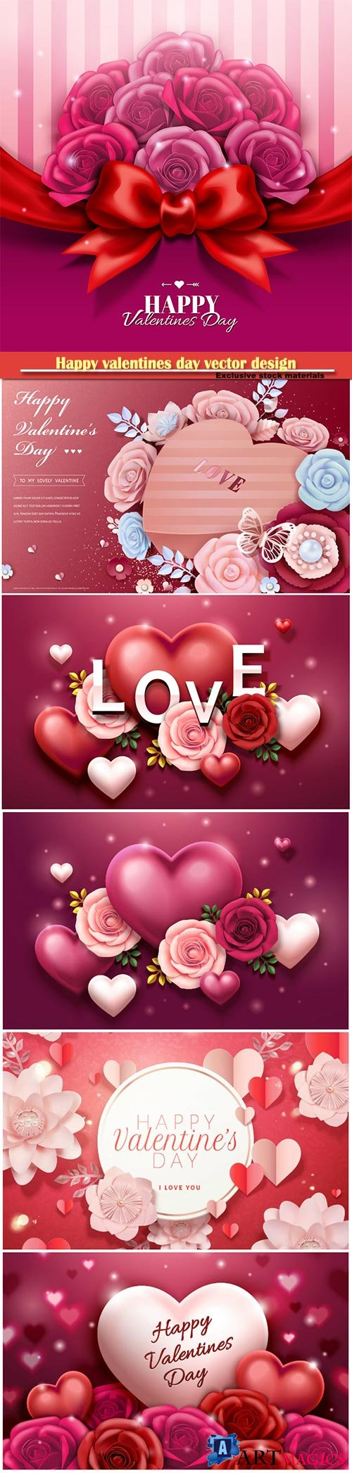 Happy valentines day vector design with heart, balloons, roses in 3d illustration # 2