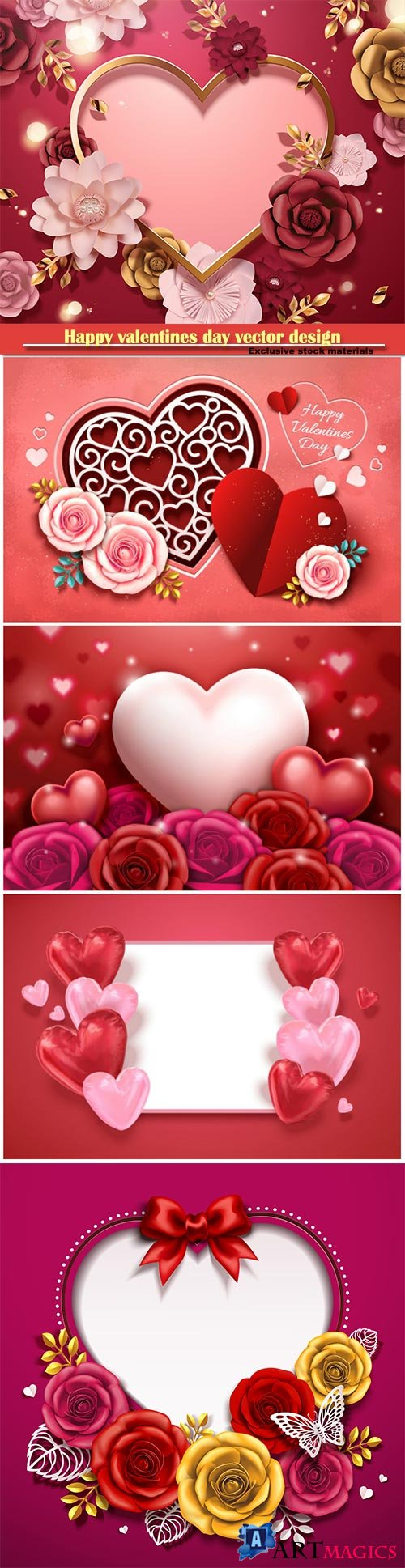 Happy valentines day vector design with heart, balloons, roses in 3d illustration # 3