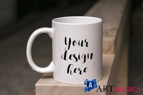 White Coffee Mug Mock up on wood psd - 2084741