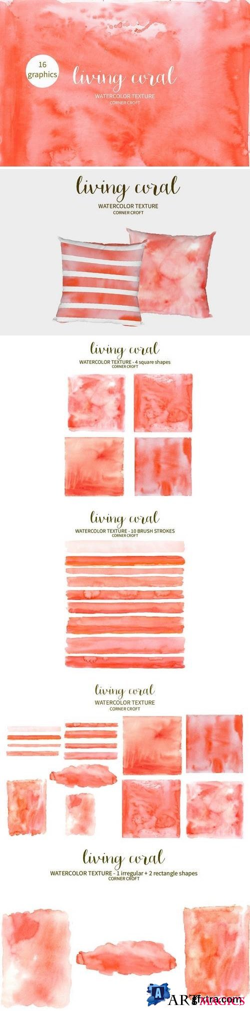 Watercolor texture living coral - 3397217