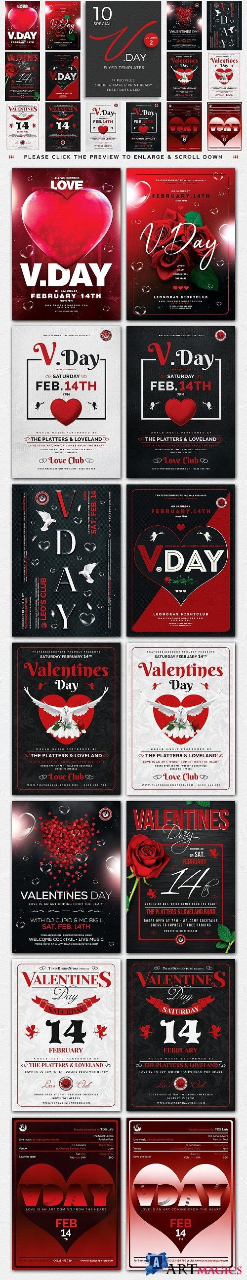 10 Valentines Day Flyer Bundle V2 - 3436289