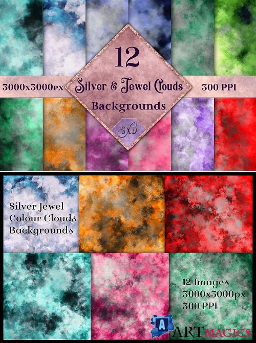 Silver and Jewel Colour Clouds Background - 192255