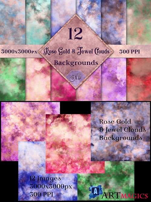 Rose Gold and Jewel Colour Clouds Backgrounds - 192986