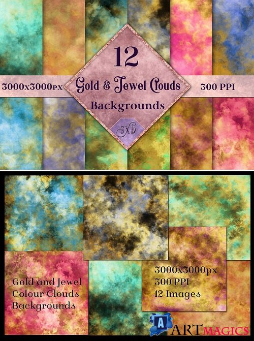 Gold and Jewel Colour Clouds Backgrounds - 191857
