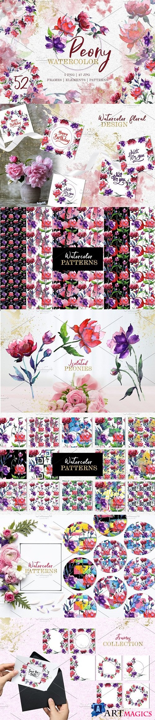 Peony Tenderness Watercolor png - 3507568