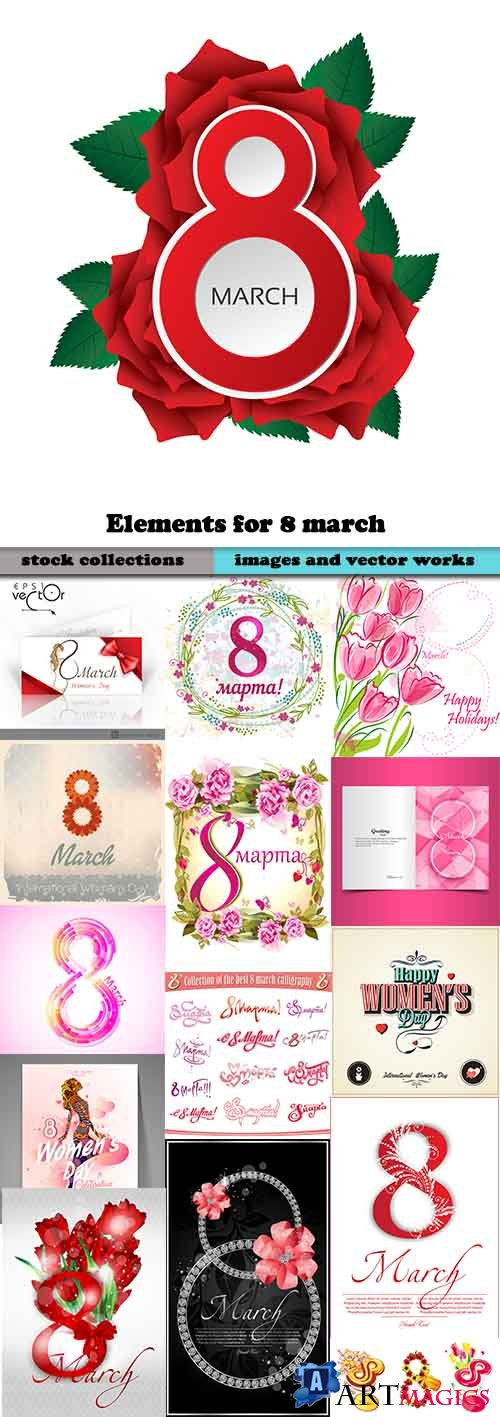 Elements for 8 march is women s day for ecards 25xEPS
