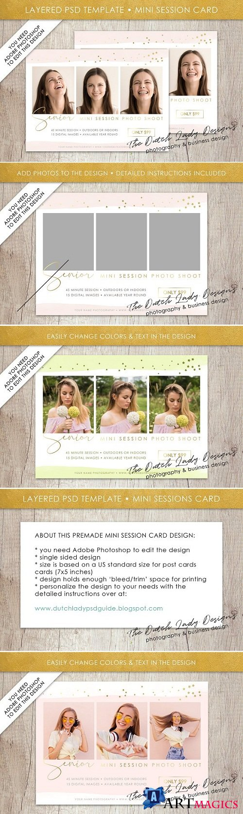 PSD Photo Session Card Template #31 - 3528054