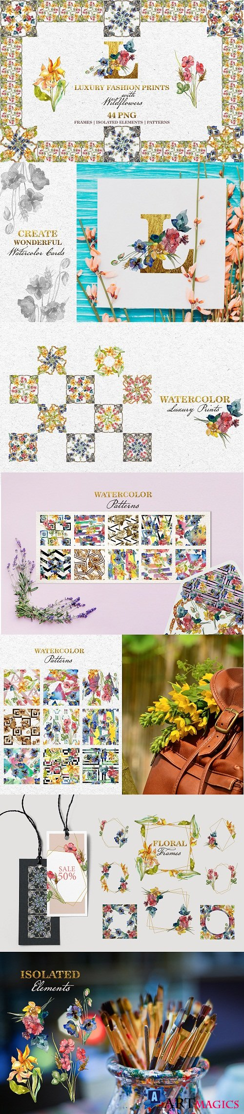 Fashion prints with Wildflowers Watercolor png - 220633