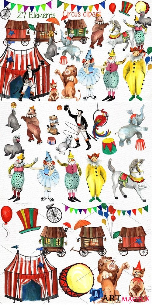 Watercolor circus clipart - 638744
