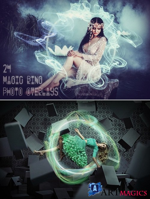 thehungryjpeg - 24 Magic Ring Photo Overlays 3533544