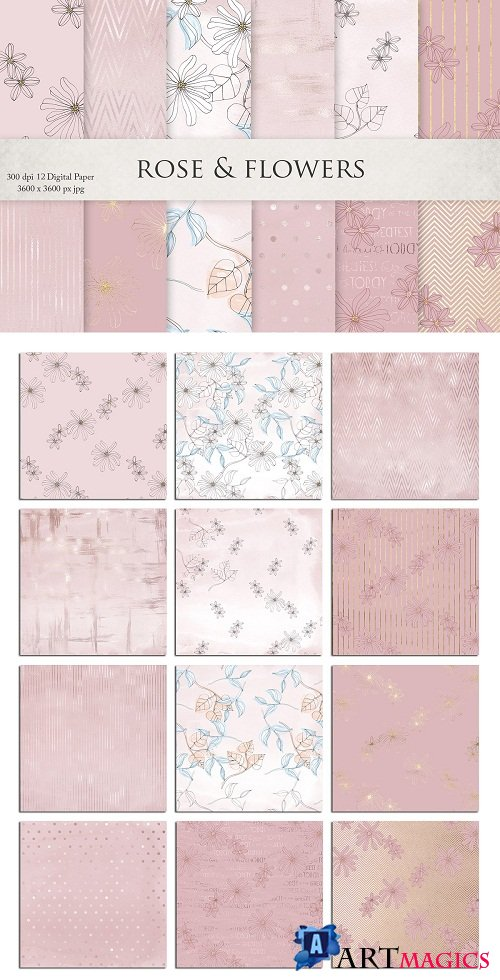 Rose Gold Watercolor Textures - 2752228