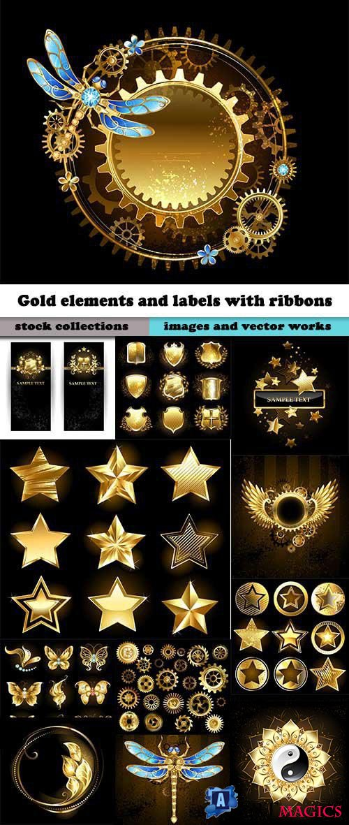 Gold elements and labels with ribbons